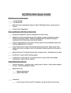 DOT/FMCSA Safety Review Checklist - Winco Fireworks