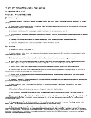 Fillable Online arrl 47 CFR 97 - Rules of the Amateur Radio