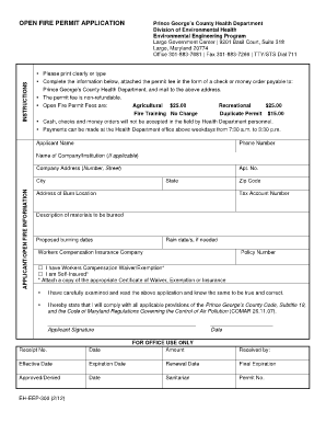 OPEN FIRE PERMIT APPLICATION - Prince George's County - princegeorgescountymd