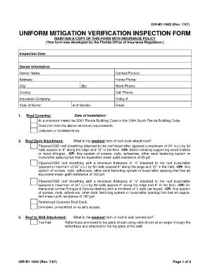 Fillable Online OIR-B1-1802 07 07 Uniform Mitigation Verification ...