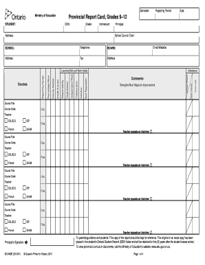 grade 9 report card  7 Printable Report Card Template Forms - Fillable Samples ...