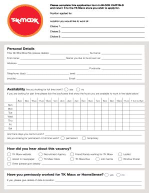 Print Tk Maxx Application Form Pdf - Fill Online, Printable