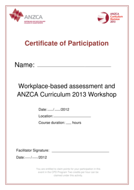 Certificate of participation template ANZCA