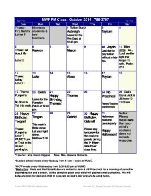 Fillable Online October 2014 Calendar Word Calendar Template