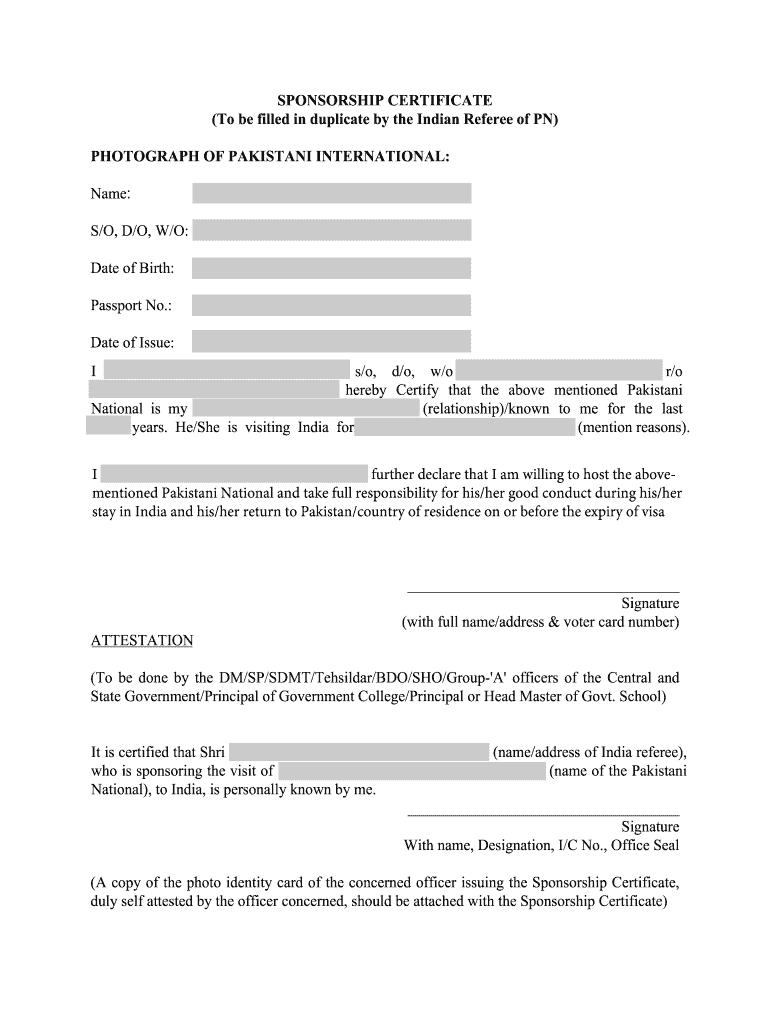 Indian Visa Sponsor Letter Sample - Fill Online, Printable