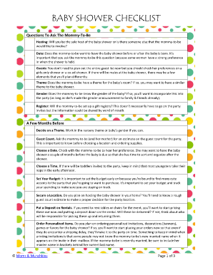 BABY SHOWER CHECKLIST - Moms & Munchkins