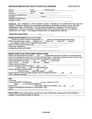 school care plan diabetes form