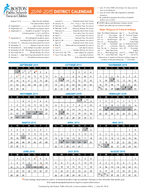 2016 bps school calendar form