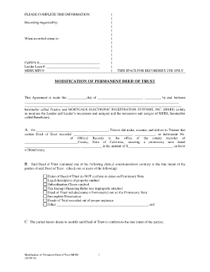 Fillable Online calhfa ca Modification of Permanent Deed of Trust ...