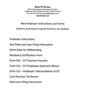 Fillable Online New Employer Instruction Packet - Berks Earned ...