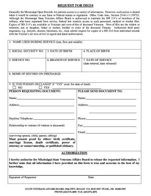 Dd214 Jackson Ms - Fill Online, Printable, Fillable, Blank | PDFfiller