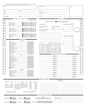 graphic relating to Printable Character Sheet identified as Exalted 2nd Variation Temperament Sheet Fillable - Fill On the internet