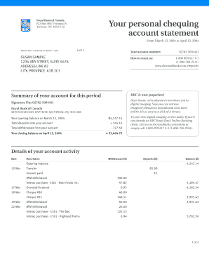 Personal Bank Account Statement Form