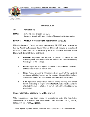 Fillable Online lavote Affidavit of Identity Notice2015. Form 2500 ...