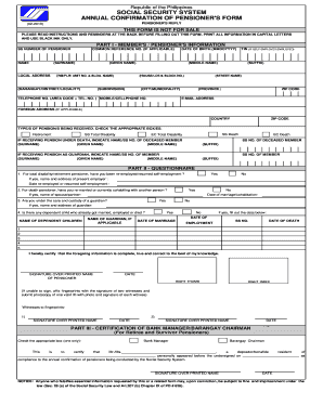 2012 Form PH SSS Annual Confirmation of Pensioner's Form Fill ...