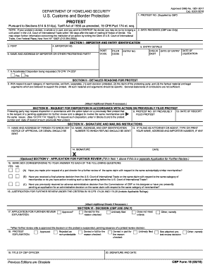 Fillable Online cbp CBP Form 19 - US Customs and Border Protection ...