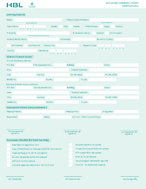 hbl pay order form  Get the hbl account opening form