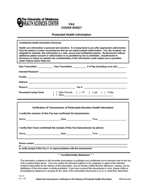 Health Information Fax Cover Sheet Templates - Fillable ...