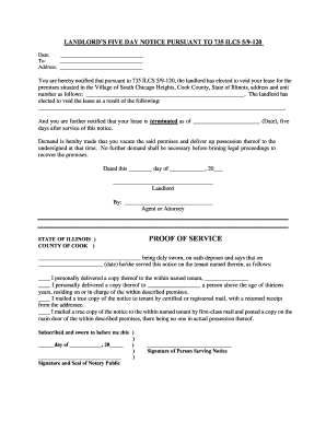 Free 5 Day Eviction Notice Illinois - Fill Online, Printable ...