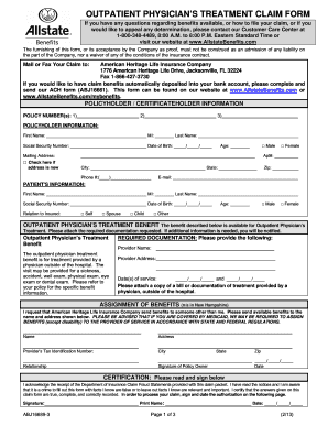 Fillable Online Outpatient physician's treatment claim form ...
