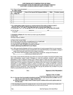 lic national electronic funds transfer mandate form hindi