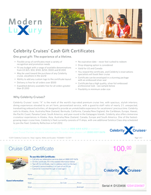 Celebrity Cruises Cash Gift Certificates