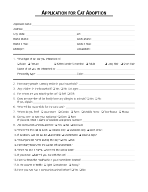 Adoption Application Form For Cats