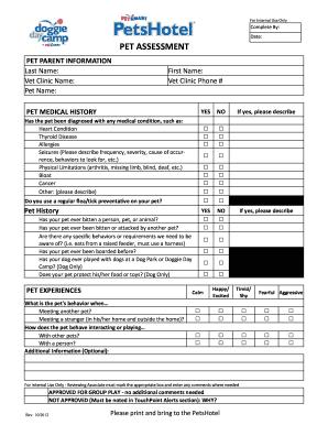Pet Assessment - Fill Online, Printable, Fillable, Blank | PDFfiller