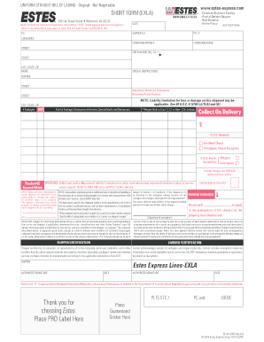 Estes Express Bill Of Lading Form  Printable Bill Of Lading Short Form