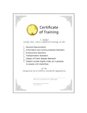 Fillable Online Sample Certificate Of Training Appendix G