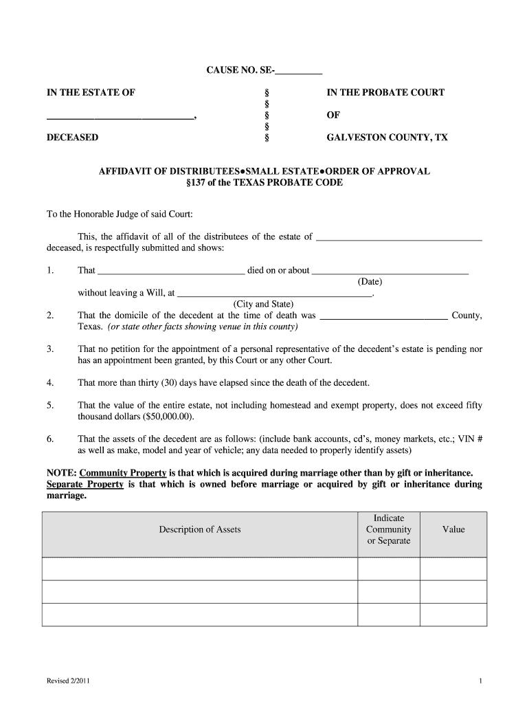 Galveston County Small Estate Affidavit - Fill Online