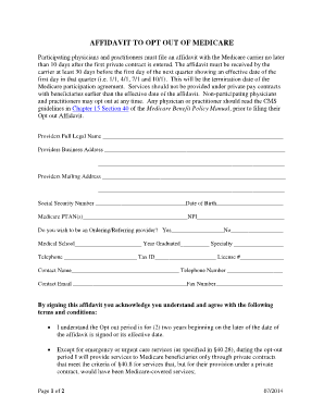 Fillable Online AFFIDAVIT TO OPT OUT OF MEDICARE Fax Email Print ...
