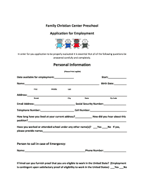 preschool application form