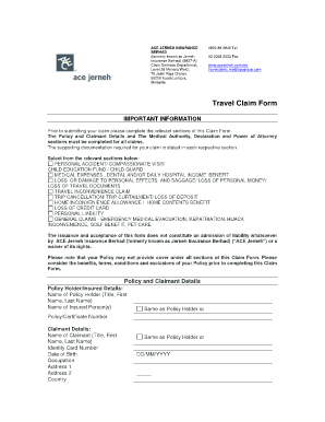 Fillable Online Download Claim Form - ACE Travel Insurance Fax ...