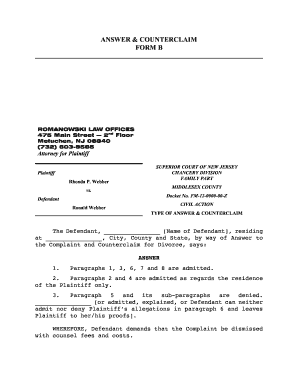 Counterclaim Format - Fill Online, Printable, Fillable, Blank ...