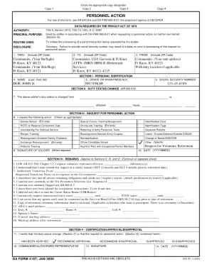 21 printable da form 4187 templates fillable samples in