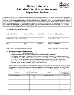 dependent verification worksheet 12 13 fillable - Dependent Verification Worksheet