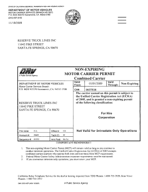 Fillable Online Dmv 706 Motor Carrier Permit Application Instructions California Fax