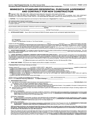 Bill Of Sale Form Minnesota Standard Residential Purchase Agreement