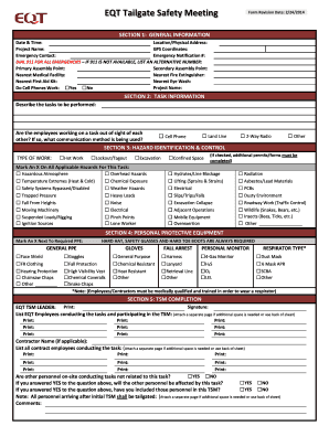 Fillable Online Tailgate Safety Meeting Form Pdf Eqt Fax Email Print Pdffiller