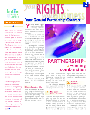 Your General Partnership Contract - Fondation du Barreau du Qu bec
