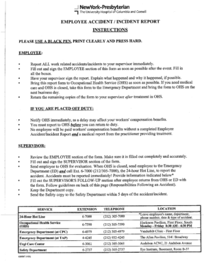Fillable Online nyp Employee accident / incident report - NewYork