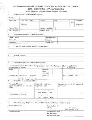 birth certificate format