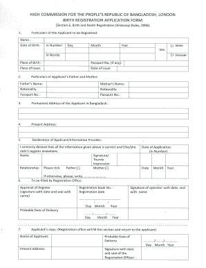 Birth Certificate Sample | Bangladesh Birth Certificate Image Fill Online Printable