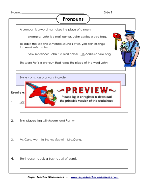 super teacher worksheets on pronouns