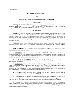 EQUIPMENT LEASE PURCHASE AGREEMENT   Maryland State .
