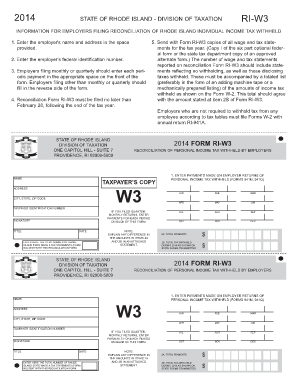 2014 Form RI DoT RI-W3 Fill Online, Printable, Fillable, Blank ...