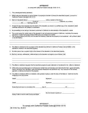 Small Estate Affidavit California 2012 Form - Fill Online ...
