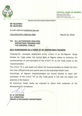central bank of nigeria form submission