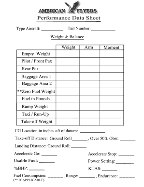 weight and balance sheet fill online printable fillable blank